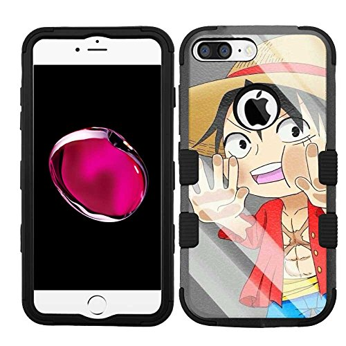 - for Apple iPhone 8 Plus, Hard+Rubber Dual Layer Hybrid Heavy-Duty Rugged Armor Cover Case - One Piece Luffy #W