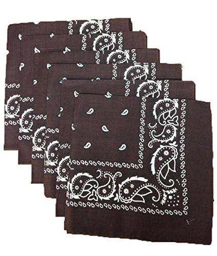 6 Color Pack Paisley Bandana Scarf, Head Wraps (Brown Bandana)