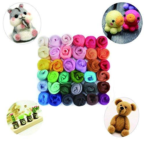 Yarn Craft Wool (LoveInUSA Needle Felting Wool Fibre Wool Yarn Roving for DIY Craft Materials 36 Colors)