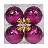 Vickerman 576311-4'' Magenta Shiny-Matte Mirror Ball Christmas Tree Ornament (4 pack) (M151470)