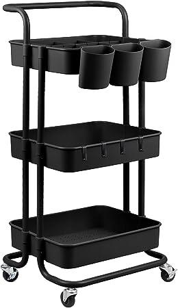 alvorog 3-Tier Rolling Utility Cart Storage Shelves Multifunction Storage Trolley
