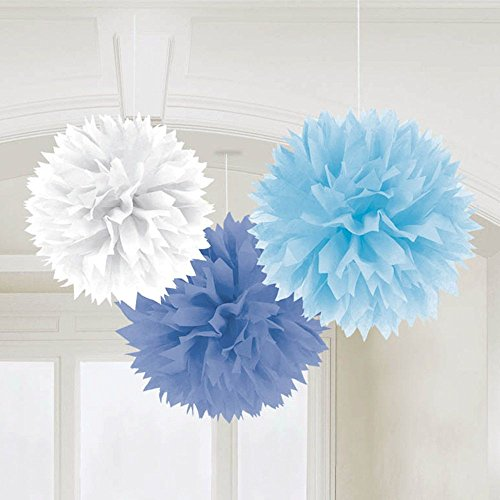 """Amscan Fluffy Baby Shower Hanging for Party Decorations, 16"""", Blue"""