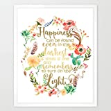 Eleville 8X10 Happiness can be found in the darkest of times Real Gold Foil and Floral Watercolor Print(Unframed) Dumbledore Harry Potter Quote Nursery decor wall art Wedding Holiday Gifts WG085