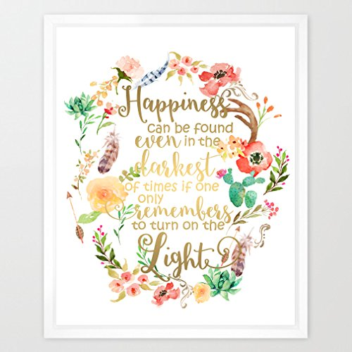 Eleville 8X10 Happiness can be found in the darkest of times Real Gold Foil and Floral Watercolor Print(Unframed) Dumbledore Harry Potter Quote Nursery decor wall art Wedding Holiday Gifts WG085 by Eleville