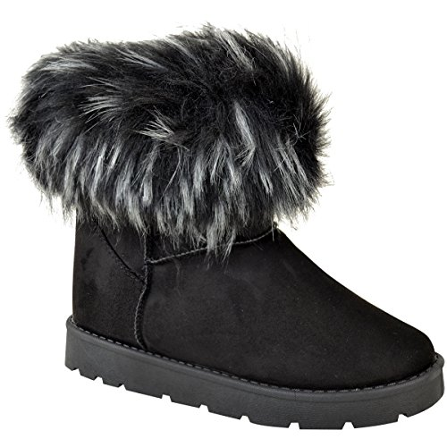 Fashion Thirsty Womens Ladies Flat Faux Fur Fluffy Ankle Boots Winter Low Heel Warm Size Black Faux Suede fuRmDGdt