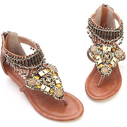 Qitun Femme Fille Sandales Bohémien Perles Plates Chaussures Été Tongs Clip Toe Marron 3A9pXVWw