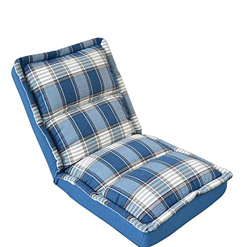 - HHH Lazy Couch Single Foldable Washable Bedroom Balcony Small Sofa Tatami Mat Bed Back Cushion Computer Chair Lazy Chair Blue White Lattice 63cmx63cmx50cm Folding Sofa