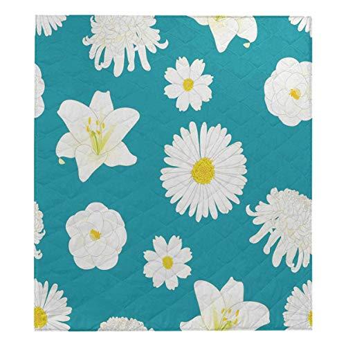 Chrysanthemum Quilt Fabric - InterestPrint White Chrysanthemum, Aster, Camellia, Cosmos and Lily Flower on Indigo Blue Soft Premium Fabric Quilt Bedding Twin Size 80