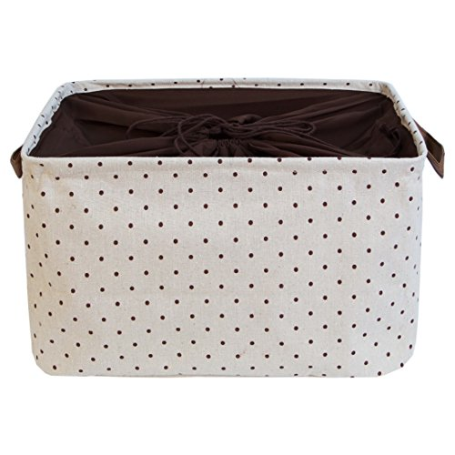 DOKEHOM DKA0611BNS2 15 Large Storage Basket (5 Colors, 15 and 17 Width), Drawstring Square Cotton Linen Collapsible Toy Basket (Brown, M)