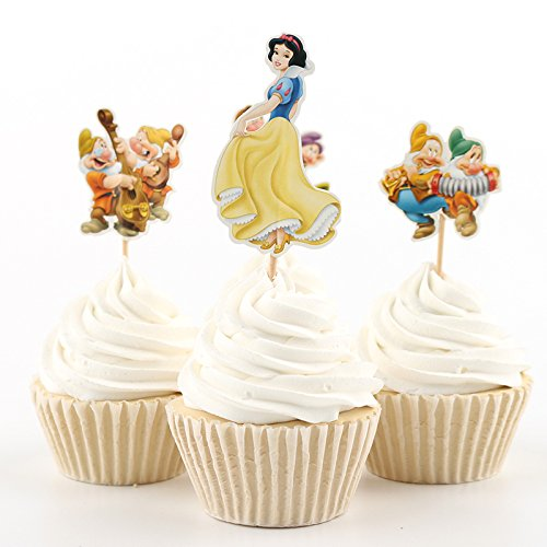 AIMING WEST set of 24 Snow White and the Seven Dwarfs Cupcake Muffin Toppers for Birthday Party or Baby Shower Little Princesses (Snow White And The Seven Dwarfs Birthday Cake)