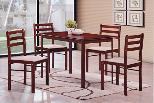 Hodedah 5 Piece Wood Dining Set, Table and 4 Chairs, Mahogany - Five Piece Wood