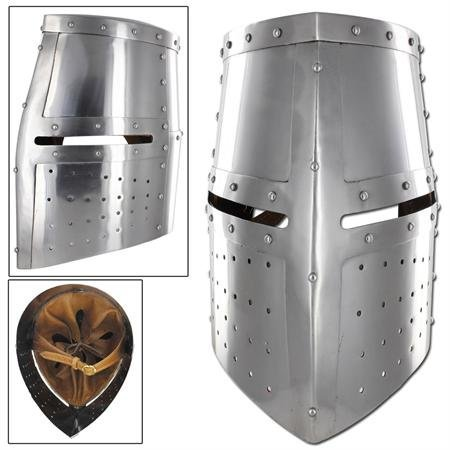 NAUTICALMART Menacing Steel Medieval Iron Cross Helmet Crusader Riveted Great Helm