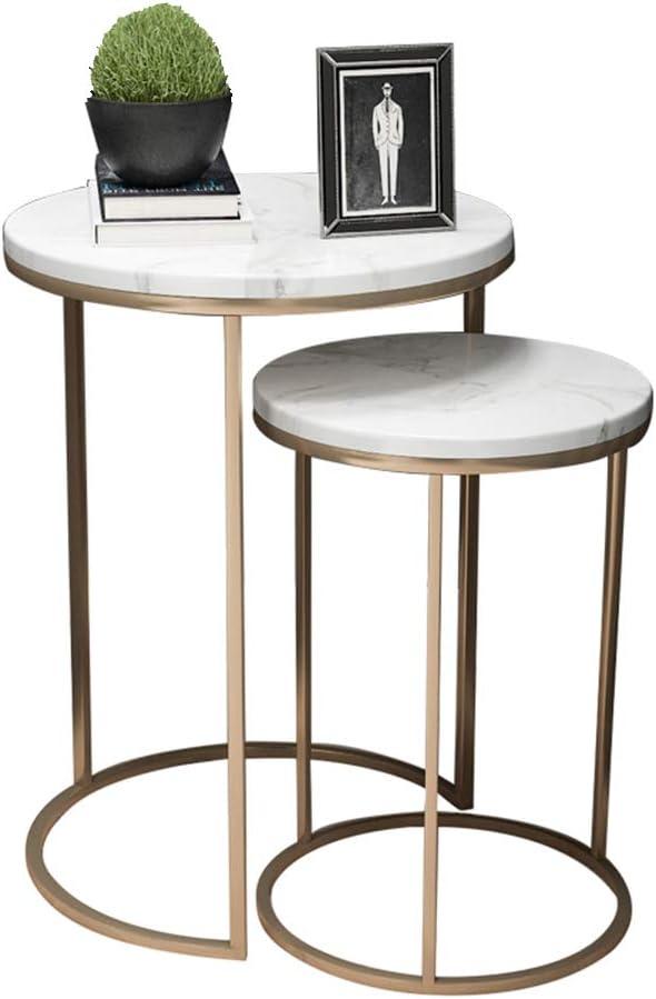 UKMASTER Table Basse Marbre Blanc et Dor/é Plateau en Marbre et Cadre en Fer Table dAppoint Ronde /à 2 Niveaux Un Atout Gain de Place pour Salon Chambre Bureau Table /à Caf/é 55x36.5cm