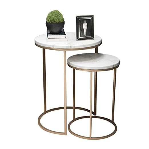 Mesas auxiliares de café anidadas, Mesa de mármol Blanco & Patas ...