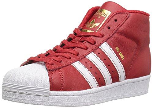 adidas Originals Boys' PRO Model J Running Shoe, Scarlet/White/Metallic/Gold, 4.5 M US Big Kid ()