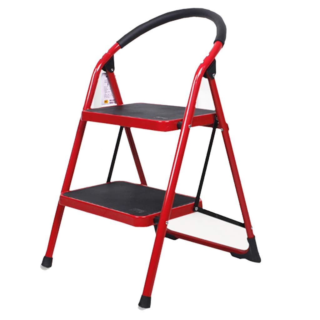 Super Kh® ステップスツール、2段スツール、手すり付きラダー屋内ホームメタル * (色 : Red) B07JLQGQFP Red