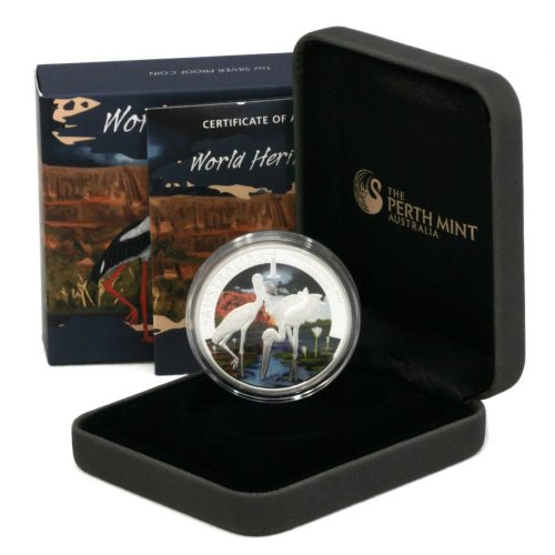 2013 Australia Kakadu Storks One Ounce .999 Fine Silver Proof Coin in Original Packaging with Numbered COA Limited Edition of 2,500 Perth Mint One Australian Dollar World Heritage Series