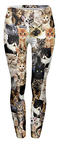 Tamskyt Women's Digital Printed Full-Length Yoga Workout Leggings Stretch Footless Fashion Leggings Thin Capris (Cats)