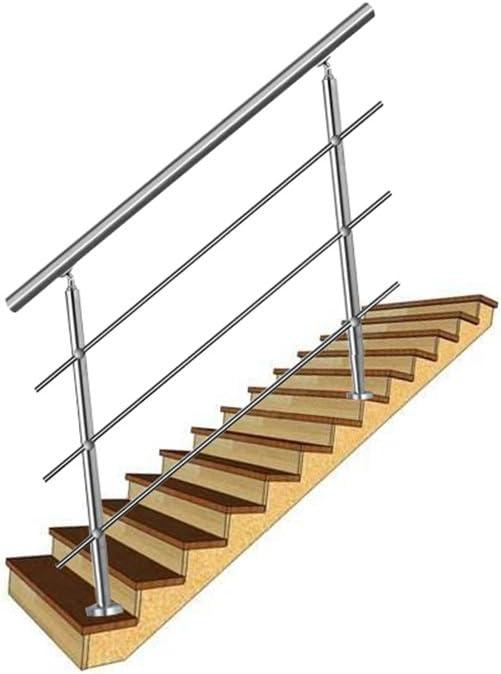 balcones LZQ 160cm Barandilla de acero inoxidable pared pasamanos escaleras barandilla con 3 travesa/ños para escaleras
