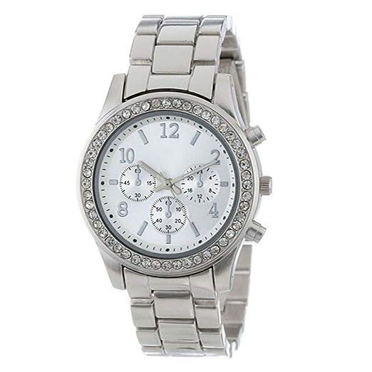 ZXMBIAO Reloj De Pulsera Relojes De Mujer Reloj De Dama Plateado Relojes Redondos Relojes De Cristales Reloj De Mujer, Plateado: Amazon.es: Relojes