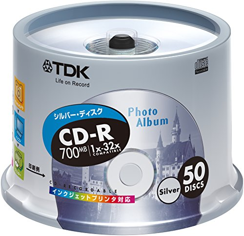 50 pieces of TDK CD-R 32x data corresponding silver printable pot case pack of [CD-R80ESX50PS] by book