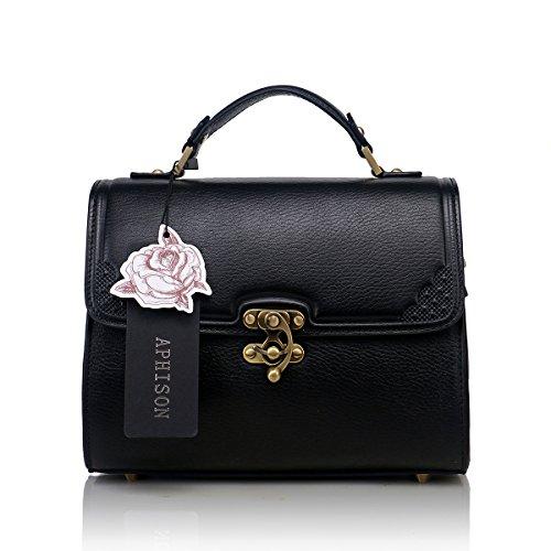 Aphison Designer Unique Contracted Classic Restoring Ancient Ways Special Buckle Women's Leather Handbags(black) 303b60121black