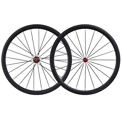 IMUST Full Carbon Fiber 700C Lightweight Aero Road Bike Clincher 38mm Wheelsetb only 1420g (38 Mm Carbon)
