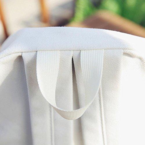 Janly Shoulder Bag , Rose Floral Embroidery School Travel Bag Woman Girls Backpack Message Bags (Black) White