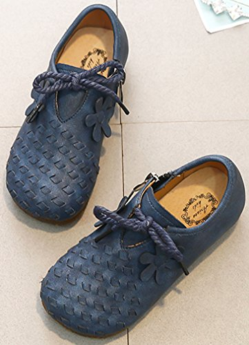 VECJUNIA Girl's Trendy Woven Round Toe Zip up Flat Shoes with Flower (Dark Blue, 10 M US Toddler) by VECJUNIA (Image #2)