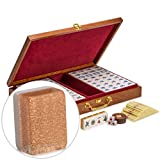 "Yellow Mountain Imports Chinese Mahjong Set, ""Champagne Gold"" - With Wood Veneer Case - Medium Size Tiles: 34mm x 25mm x 19mm - For Chinese Style Gameplay Only"