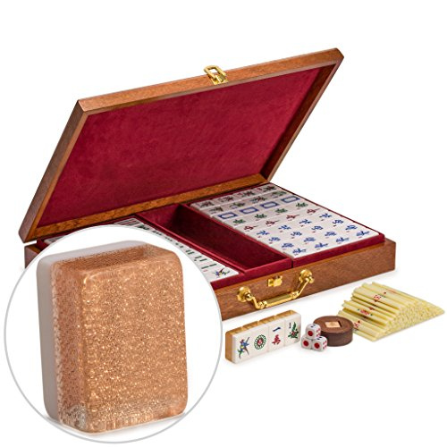 Chinese Mahjong (Yellow Mountain Imports Chinese Mahjong (Mah Jong, Mahjongg, Mah-Jongg, Mah Jongg, Majiang) Set with Numbered Tiles, Accessories, and Wood Veneer Case,