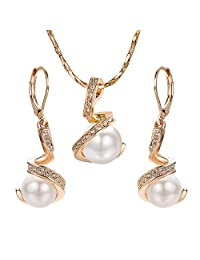 Yoursfs Pearl Jewelry Set Wedding Necklace & Earrings Bridal Jewelry Set Brides Bridesmaids