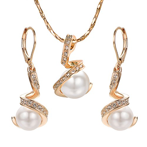 Yoursfs Ivory Pearl Jewelry Set Rose Gold Bridal Pendant Necklace Drop Earrings Sets ()