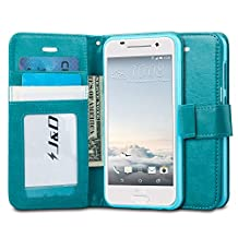 HTC One A9 Case, J&D [Stand View] HTC One A9 Wallet Case [Slim Fit] [Stand Feature] Premium Protective Case Wallet Leather Case for HTC One A9 (HTC ONE A9, Aqua)