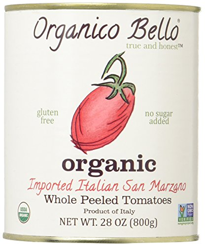 Organico Bello - Organic Southern Italian Whole Peeled Tomatoes - 28oz (Pack of 6) - Non GMO, Whole 30 Approved, Gluten Free, BPA -