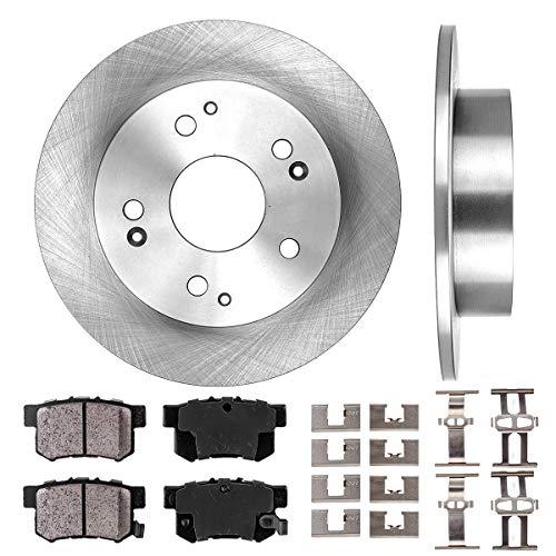 REAR 259 mm Premium OE 5 Lug [2] Brake Disc Rotors + [4] Ceramic Brake Pads + Clips