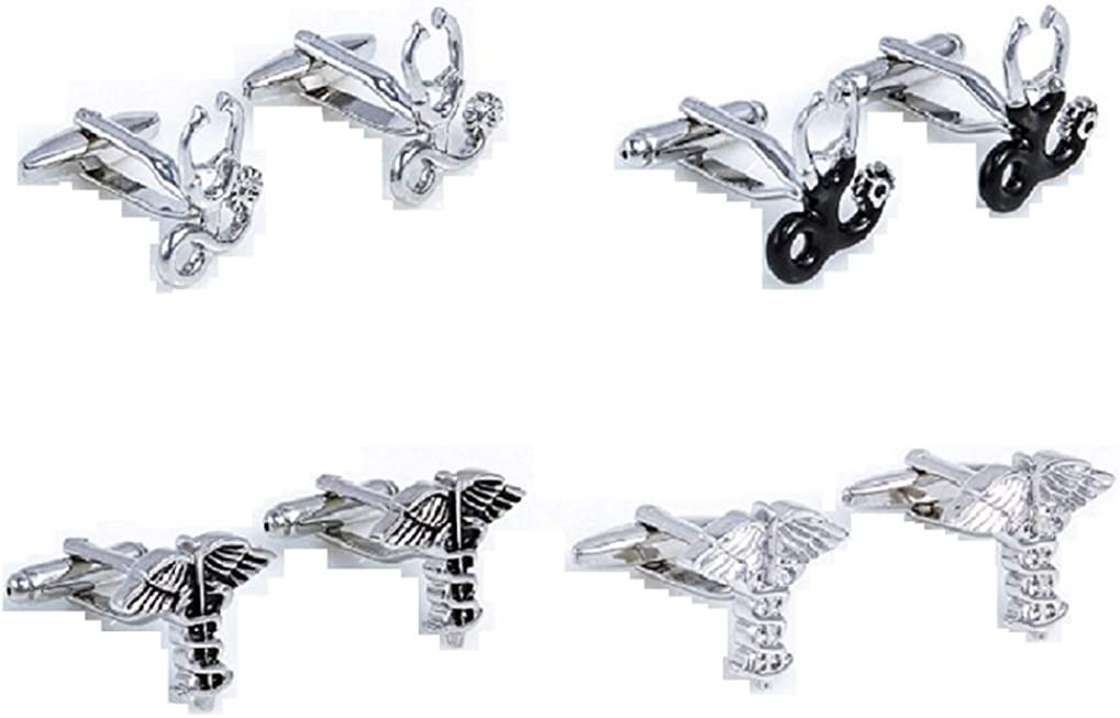 MRCUFF Dr Doctor Stethoscope Caduceus Asclepius MD 4 Pairs Cufflinks in Presentation Gift Box & Polishing Cloth