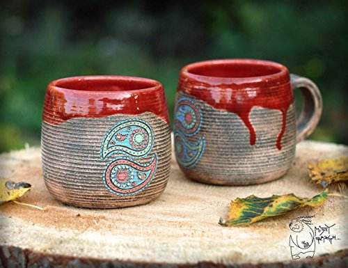 Handmade Red ceramic mug with Paisley, 380ml/13 fl.oz, Paisley pattern, pottery tea cup, red brown cup, indian decor house warming (Red Pottery Mugs)