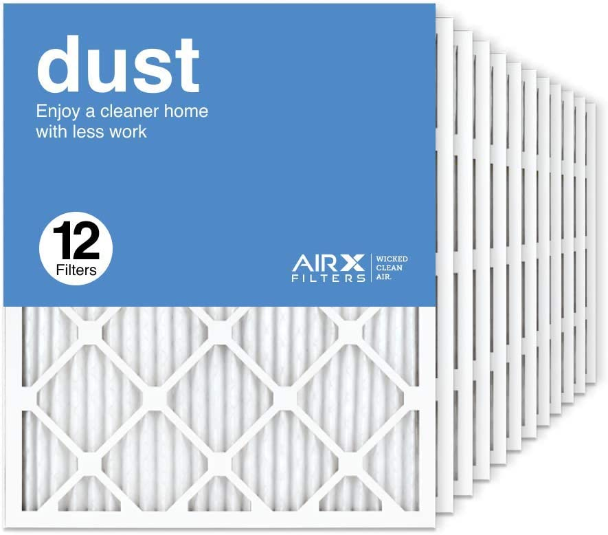 AIRx Filters 20x25x1 Air Filter MERV 8 Pleated HVAC AC Furnace Air Filter, Dust 12-Pack, Made in the USA