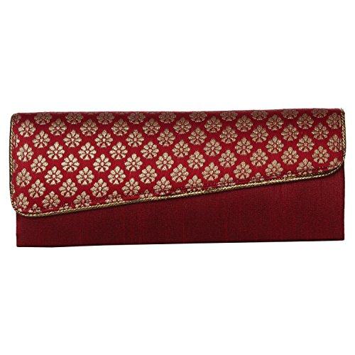 Handmade Womens Maroon Party Clutch Purse Evening bag (Handmade Handbag Accent Indian)
