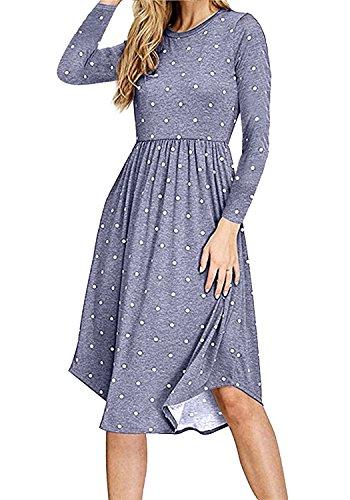 0bdf9adbfbb6 Simier Fariry Women Long Sleeve Pleated Polka Dot Pocket Swing Casual Midi  Dress