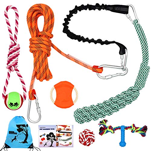 Rope Dog Toys Outdoors, Angela&Alex Hanging Bungee Dog Tug Toys Spring Pole for Dog Exercise Interactive Elastic Webbing Flying Disk Dog Ball Toys Rope Pull & Tug of War Toy