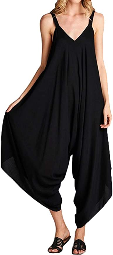 Amazon Com Jumpsuits Women V Neck Loose Wide Leg Rompers Baggy Long Pants For Party Club Clothing