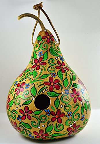 Gourd Birdhouse- Hand Painted Red Floral Design - 10