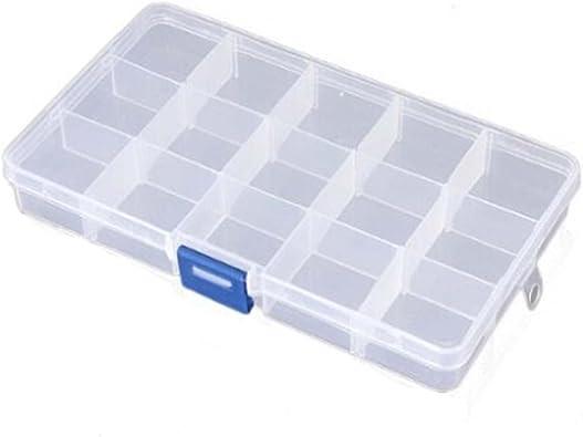 Homiki - Caja de almacenamiento de joyas, plástico 15 compartimentos, utensilio ajustable, contenedor de usos múltiples: Amazon.es: Juguetes y juegos