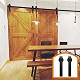 HomeDeco Hardware 14 FT Rustic Sliding Wood Barn Door Rolling Antique Hardware Flat Tracks Double Doors Kit