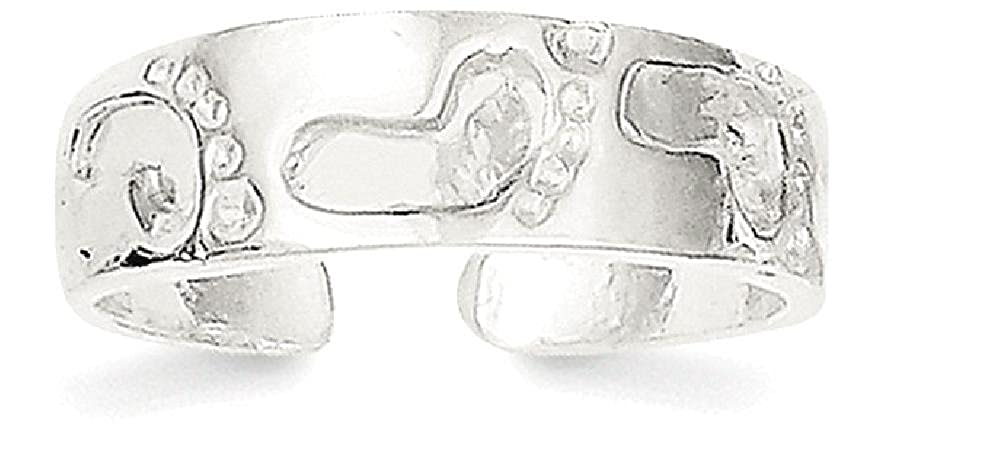925 Sterling Silver Foot Print Adjustable Cute Toe Ring Set Fine Jewelry Gifts For Women For Her IceCarats 6438654804250540358