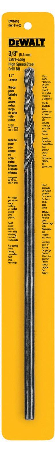 DEWALT DW1610 3/8-Inch by 12-Inch Extra Long Black Oxide Drill Bit