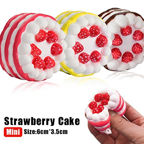 Rambling 3PC Mini Strawberry Cake Kawaii Slow Rising Cream Scented Stress Reliever Toys for Kids and Adults Great Gift (Marshmallow Squishy Bun)