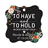 Darling Souvenir To Have and To Hold In Case You Get Cold Wedding Party Favor Hang Tags Custom Bonbonniere Gift Tags-Floral Black-50 Tags